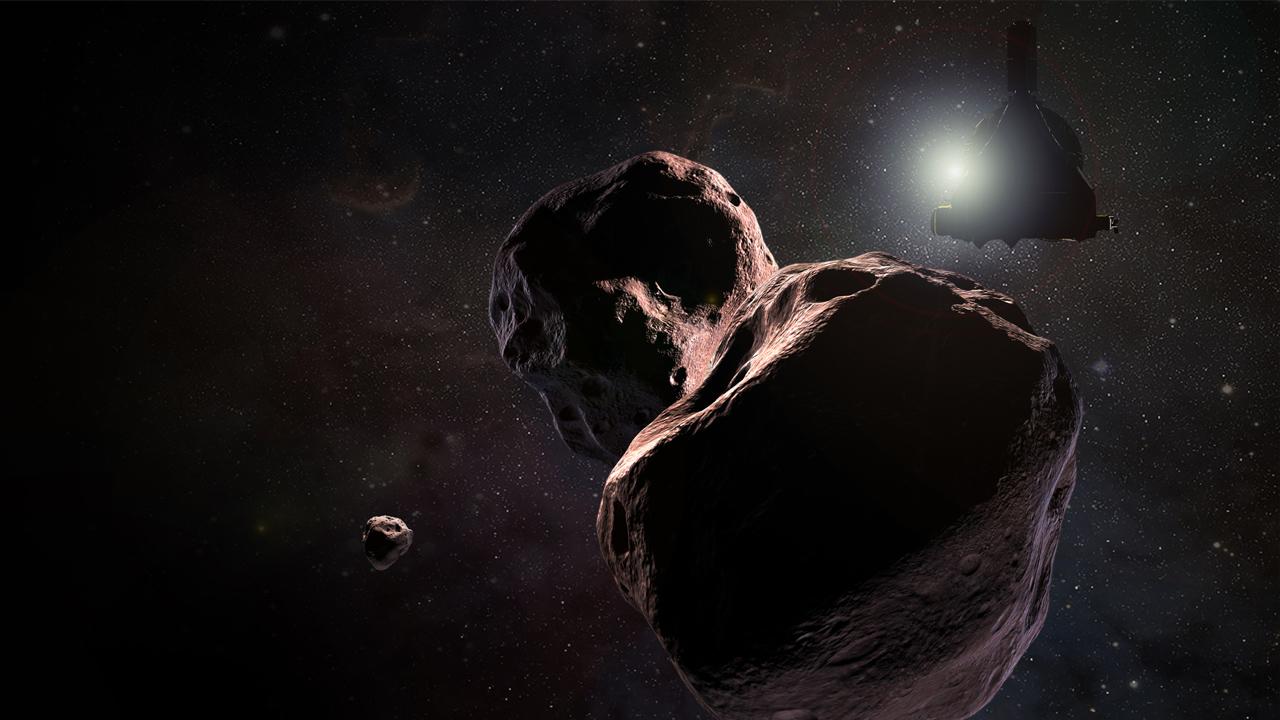 MU69:n kuu ja New Horizons (piirros)