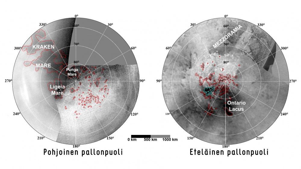 Titanin järvet kartalla